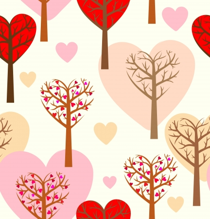 Seamless pattern with hearts and trees