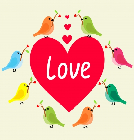 Birds with heart s branch in Love Banner   Frame can be used for wallpaper, web page background,tags