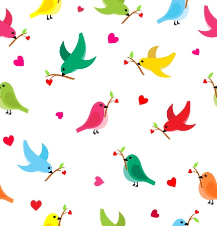 flying birds: Pattern with flying birds carrying a branch with a heart  Seamless pattern can be used for wallpaper, pattern fills, web page background,surface textures