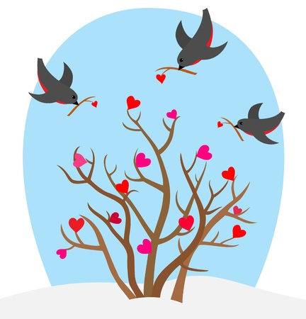 Birds with heart s branch and love bush