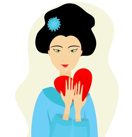 portrait of Japanese woman with heart in her hands