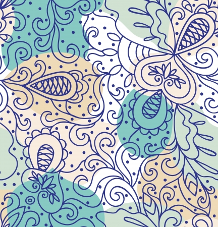 Seamless abstract hand-drawn pattern, blue background  Seamless pattern can be used for wallpaper, pattern fills, web page background,surface textures