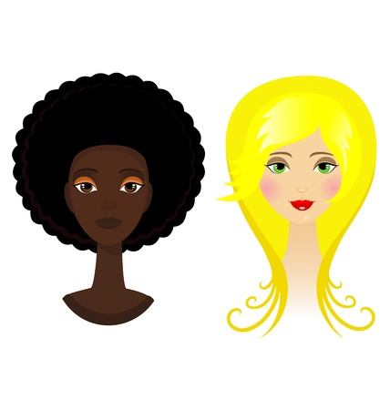 Two portraits of glamour blonde and afro funky woman