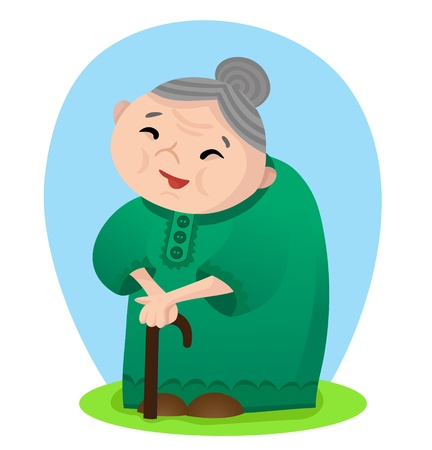 Vector illustration of cartoon smiling grandmother with cane