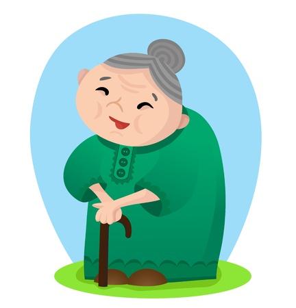 Vektor-Illustration von Cartoon lächelnde Großmutter mit Zuckerrohr Vektorgrafik
