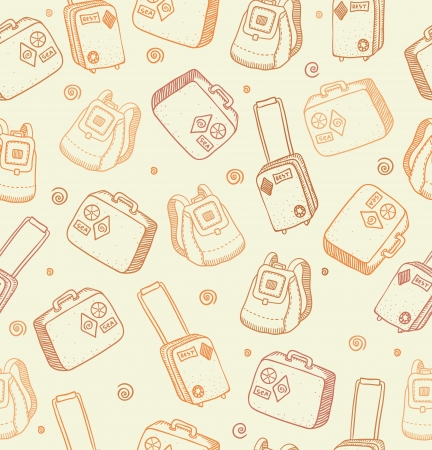Vector pattern with bags, suitcases and backpacks on beige background