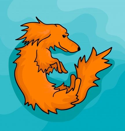 Vector illustration of orange dachshund on decorative blue background