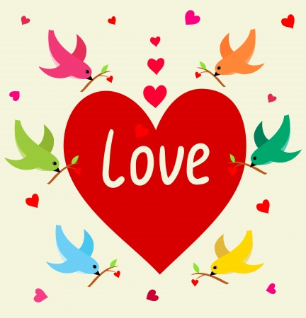 Flying birds with heart s branch in Love Banner   Frame can be used for wallpaper, web page background,tags   Illustration