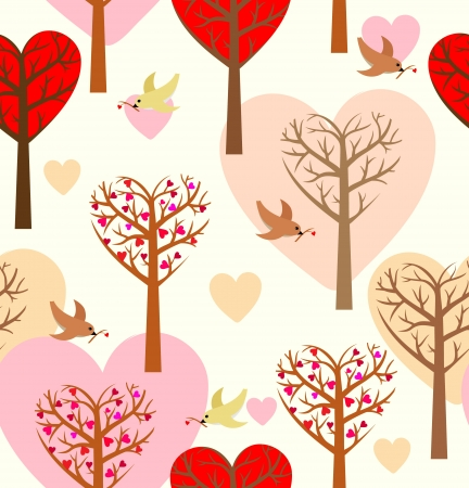 Seamless pattern with hearts, trees and birds  Seamless pattern can be used for wallpaper, pattern fills, web page background,surface textures  Illustration