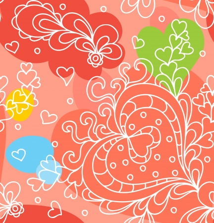 Seamless abstract hand-drawn pattern with hearts