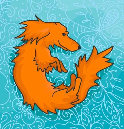 illustration of orange dachshund on decorative blue background