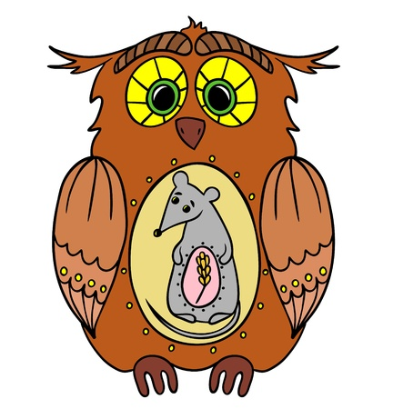 chain food: illustration of the food chain in the forest - owl, mouse, spikelet