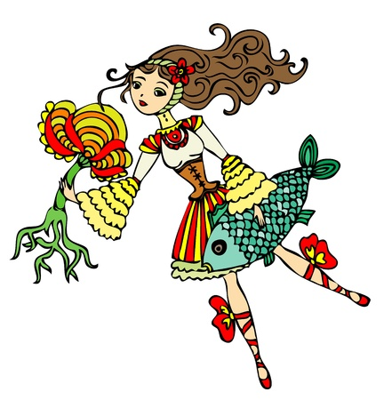 exotic dancer: illustration of some crazy girl - a fairy tale