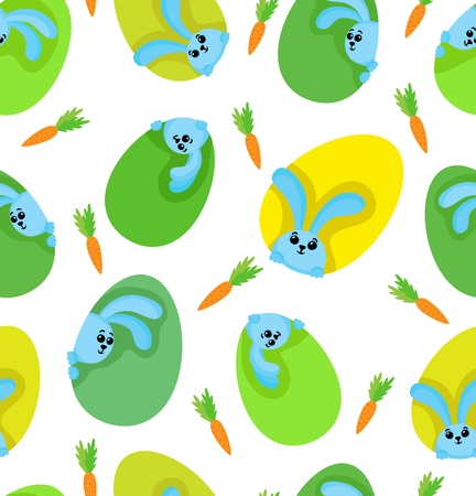 pattern  Green-yellow eggs with funny rabbits and carrots