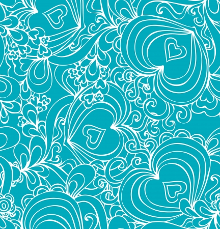 Seamless abstract hand-drawn pattern with hearts  Seamless pattern can be used for wallpaper, pattern fills, web page background,surface textures  Illustration