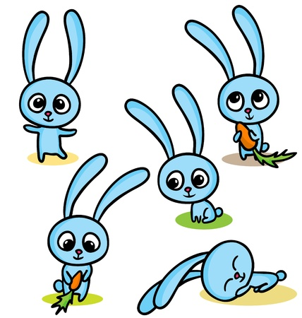 A vector illustration of happy easter bunnies  Illustration