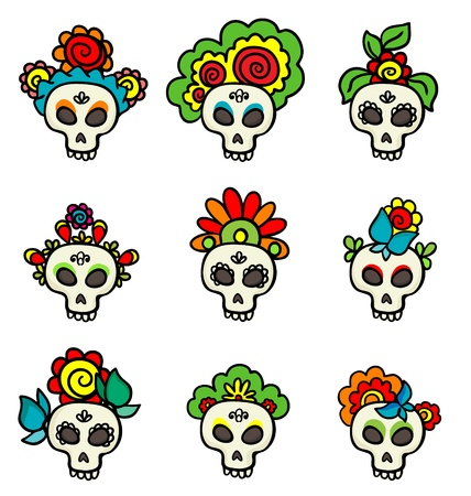 set with colorful skulls Vector