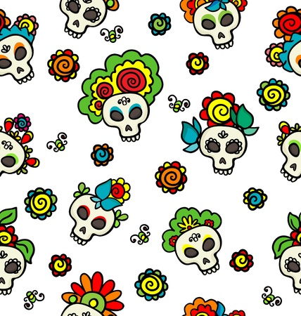 Pattern with colorful skulls Vector