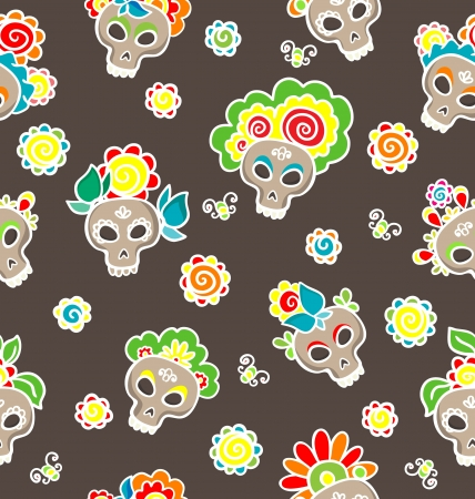 Pattern with colorful skulls-catrinas  for Dia de los Muertos  Vector