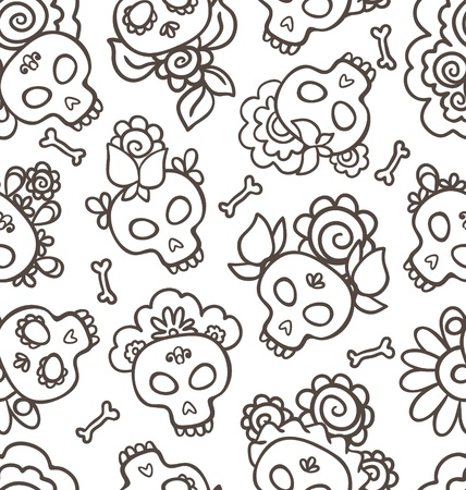 Hand-drawn pattern with skulls-catrinas  for Dia de los Muertos  Vector