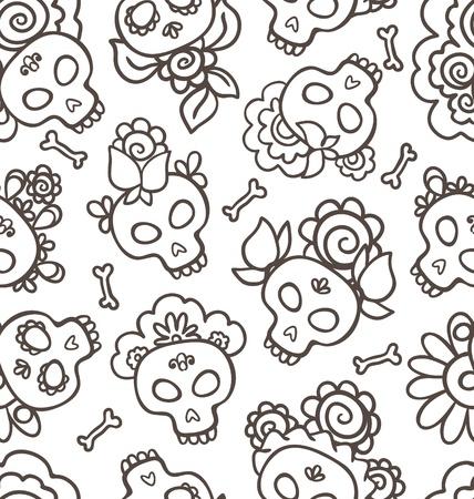 Hand-drawn pattern with skulls-catrinas  for Dia de los Muertos