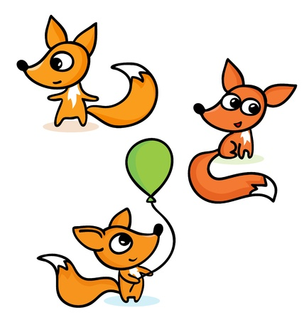 A vector illustration of happy little foxes