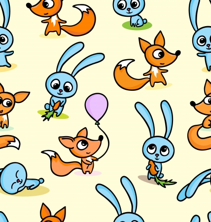 fox fur: A vector illustration of happy little foxes and bunnies on seamless pattern background