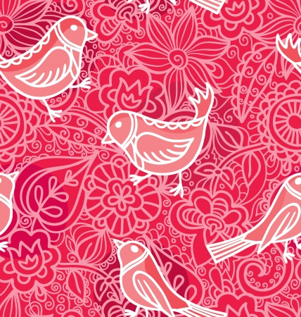Seamless Texturewith flowers and birds  Bright background, summer theme seamless pattern, vector wallpaper, summer texture, wrapping with flowers, spring and summer theme for your design  Vector