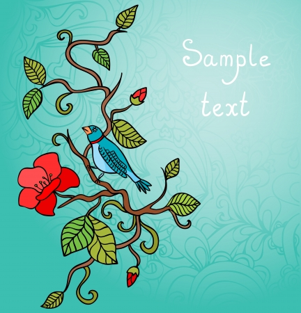 Vector illustration of a colored forest bird sitting on blooming plants