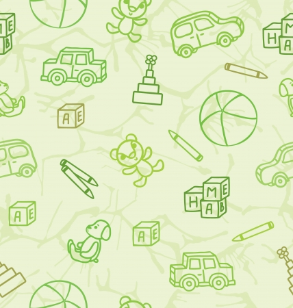 Pattern with line drawing toys on a light green background Vector