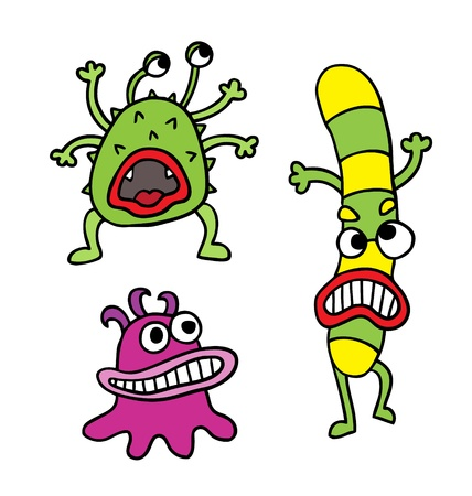 parasites: Cute monsters set  Vector illustration   Illustration