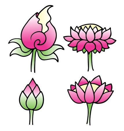 Set of simple lotus flowers in vector format   Illustration