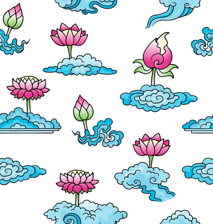 Simple lotus flowers and clouds on seamless background