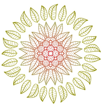 Round floral vector ornament with berries Illustration
