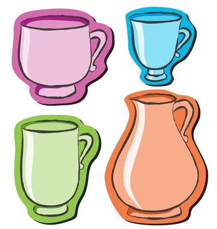 Set of four different cups on white background