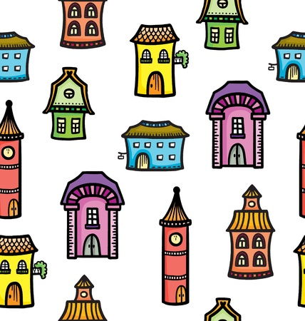 Pattern with cute cartoon colorful houses Stock Vector - 22022048