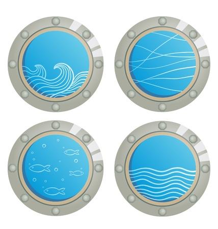 ventana ojo de buey: Wave y los peces en una ventana de ojo de buey de barco -
