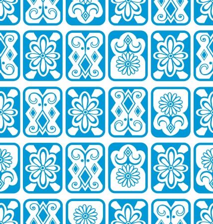 Vector seamless background  Blue tiles