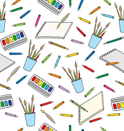 Supplies for drawing. Seamless Pattern Illustration