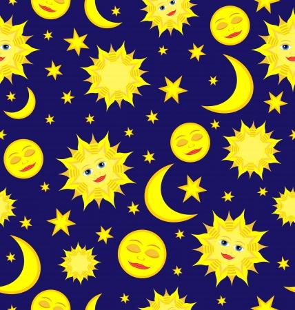 zon en maan: Zon, maan en sterren Hemelse naadloze patroon Vector achtergrond