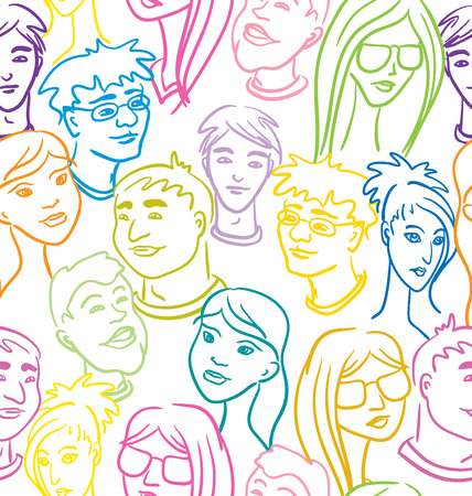 Seamless pattern with people faces - very big crowd. Color vector illustration.  Vector