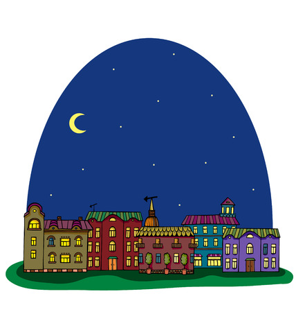 Night panorama with cute town. Seamless vector pattern.  Vector