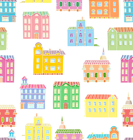 Vector seamless pattern with houses. Panorama of cartoon town Illustration
