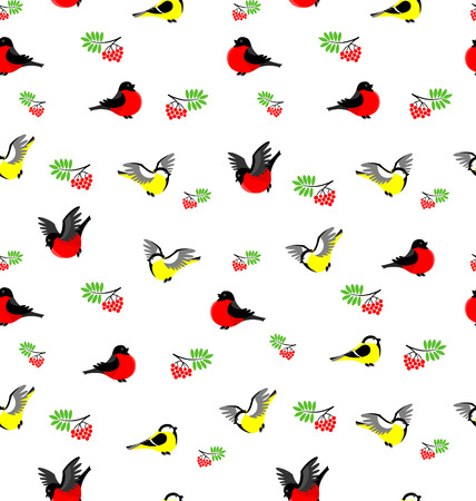 Vector seamless pattern with bullfinches, tites and rowanberries. Winter background. Vector
