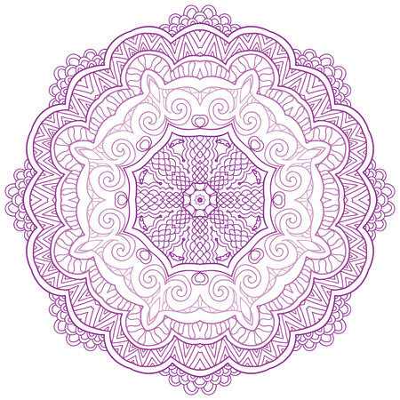 Round lace ornament isolated on white. Round ornament with many details, looks like crocheting handmade lace, lacy arabesque designs.