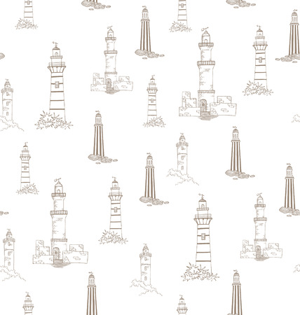 Lighthouses in vintage style - vector pattern seamless   Illustration