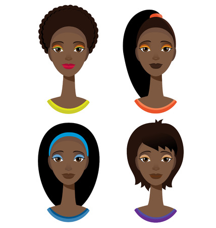 Pretty stylish african american woman with different haircut. 矢量图片