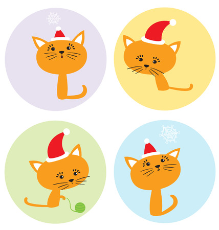 Cartoon Christmas set with funny kittens and seasonal elements Illustration