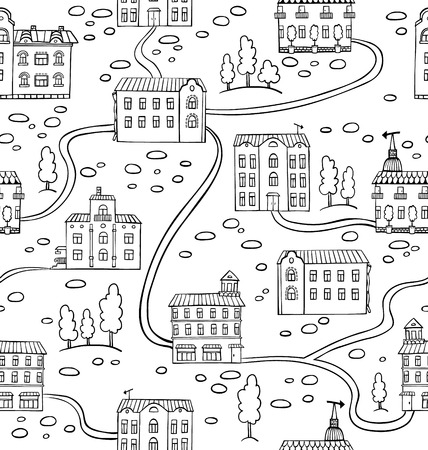 Vector seamless pattern with houses and trees. Panorama of cartoon town Stock Vector - 25252791