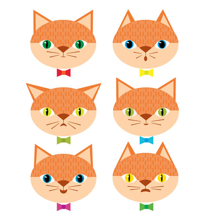 Cute cats with different emotional moods